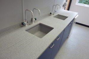 School laboratory furniture Velstone worktop and blue doors