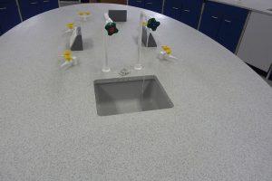 School science lab furniture curved Velstone worktop and blue doors