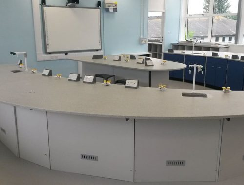 School science lab furniture with curved Velstone worktop and whiteboard