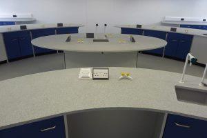 School science laboratory furniture curved velstone worktop and blue doors