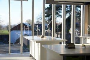 Tonbridge School science lab islands with Velstone worktops.