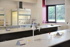 Charterhouse school science laboratory student workbenches.