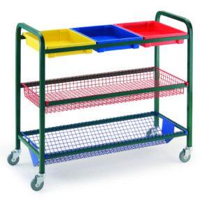 Klick Technology General Purpose Tray Trolley with 3 tray, 1 basket & 1 V basket variation