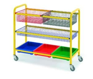 Klick Technology General Purpose Tray Trolley with 3 tray, 2 deep basket & 1 shallow basket variation
