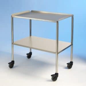 Stainless steel dressing trolley, 2 tier.