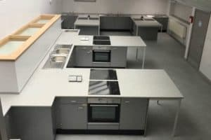 Food Technology room with Velstone worktops and built in single ovens