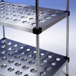 Stainless steel perforated shelving.