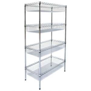 Chrome wire basket shelving, 4 tier, static