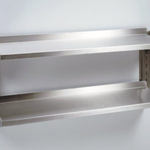 Stainless steel wall shelves, 2 tier.