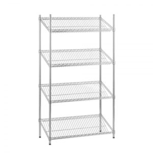 4 Tier slanted chrome wire shelving - static