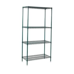 Nylon coated wire shelving, 4 tier, static.