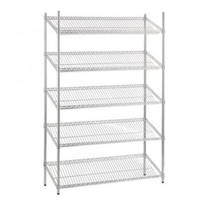 Slanted chrome wire shelving, 5 tier, static.