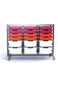Grey red pink 24 tray storage