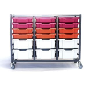 Grey red pink 24 tray storage