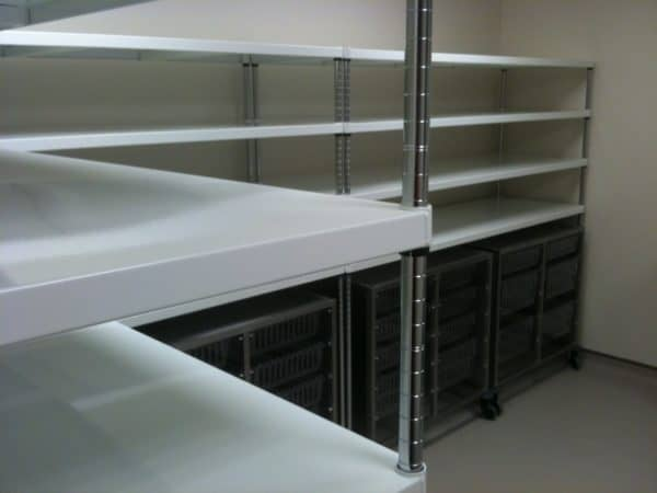 Powder coated mild steel shelving
