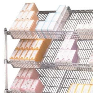 Slanted chrome wire shelving, displaying sutures