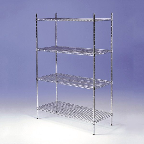 Chrome wire racking, 4 tier, static.