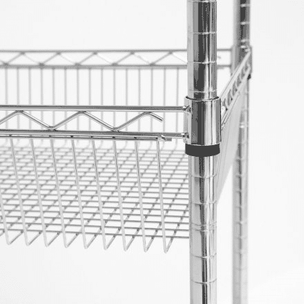 Chrome wire basket shelf, close up