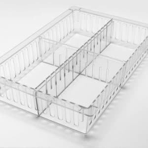 HTM71 Tray, 600 x 400 x 100mm deep, shown with optional dividers.