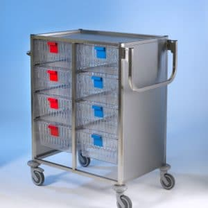 Klick Technology HTM71 Stainless Steel Multi Trolley, with 200mm deep HTM71 Trays / HTM71 Baskets