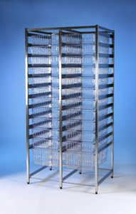 Klick Technology HTM71 Double Frame Modular Storage, shown with HTM71 trays, HTM71 Baskets