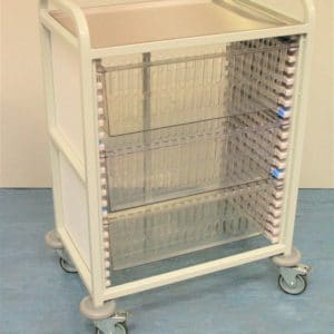 Klick Technology Handled HTM71 Trolley, shown with 3 x 200mm Full Size HTM71 Trays / HTM71 Baskets