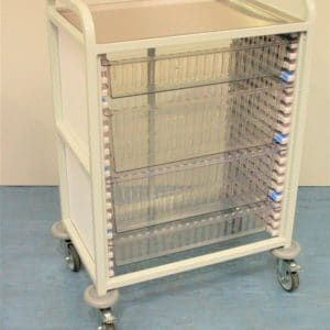 Klick Technology Handled HTM71 Trolley, shown with 2 x 100mm and 2 x 200mm Full Size HTM71 Trays / HTM71 Baskets