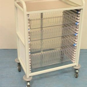 Klick Technology Handled HTM71 Trolley, shown with 3 x 100mm and 1 x 200mm Full Size HTM71 Trays / HTM71 Baskets