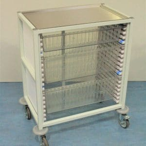 Klick Technology Low Level HTM71 Trolley, shown with 1 x 100mm and 2 x 200mm Full Size HTM71 Trays