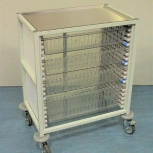 Klick Technology Low Level HTM71 Trolley, shown with 3 x 100mm and 1 x 200mm Full Size HTM71 Trays