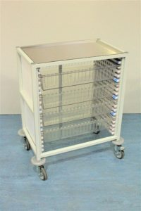 Klick Technology Low Level HTM71 Trolley, shown with 4 x 100mm Full Size HTM71 Trays / HTM71 Baskets