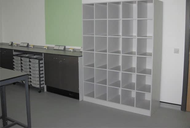 science laboratory bag storage unit
