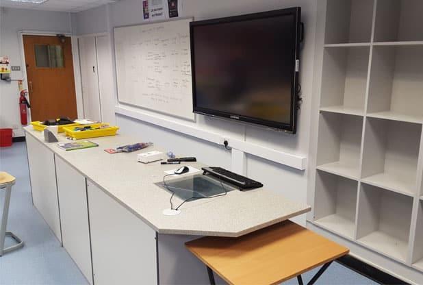 Science lab teaching wall.