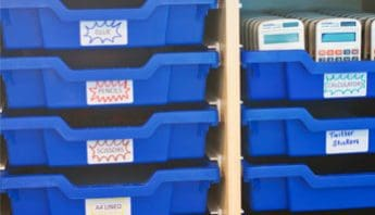 Blue single Gratnells' Trays with labels.