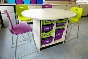 Secondary school single island with single and double tray storage in green and purple.