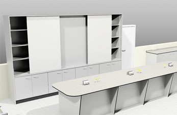 3D image of a teaching wall and teaching desk.