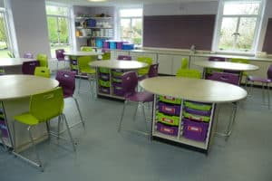 Science laboratory round work stations with Velstone tops.
