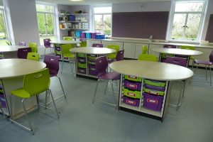 Science laboratory furniture oval work stations with Velstone worktops