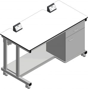 3D visual of laboratory mobile workstations for commercial science laboratories