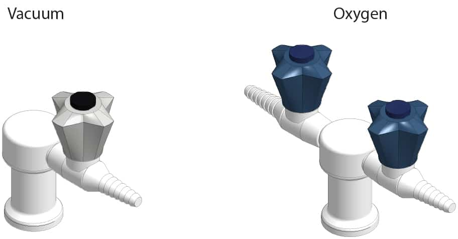 3D visual of vacuum and oxygen gas taps for commercial science laboratories.