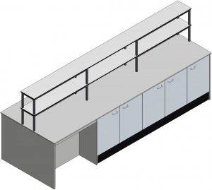 Fixed Pedestal Laboratory Furniture with optional reagent shelving 3D visual