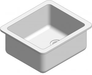 3D visual of epoxy resin sink for commercial science laboratories.