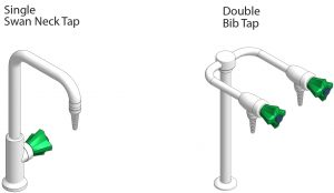 3D visual of Single Swan Neck Tap and Double Bib Tap for commercial science laboratories.