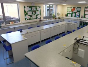 School science laboratory furniture Cheltenham College C shaped island benching