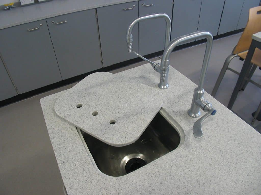 Featherstone School science lab satin chrome taps.