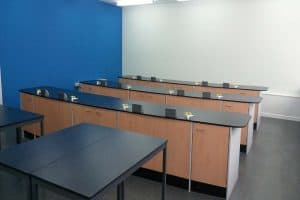 St Joseph's Catholic High School Science laboratory with blue contrast wall.