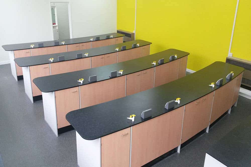 St Joseph's Catholic High School science lab with yellow contrast wall.