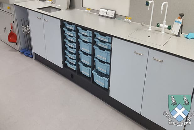 Bradfield College Science laboratory with co-ordinating blue Gratnells trays.