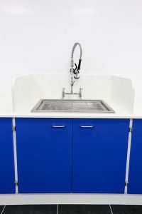 Pathology laboratory design with bespoke stainless steel sink