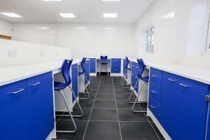 Pathology laboratory design with contrast blue stools.